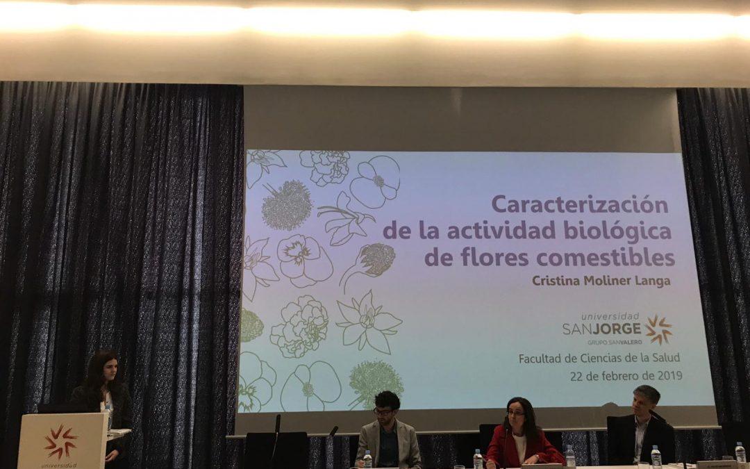 Cristina Moliner defiende su tesis doctoral sobre la actividad biológica de flores comestibles