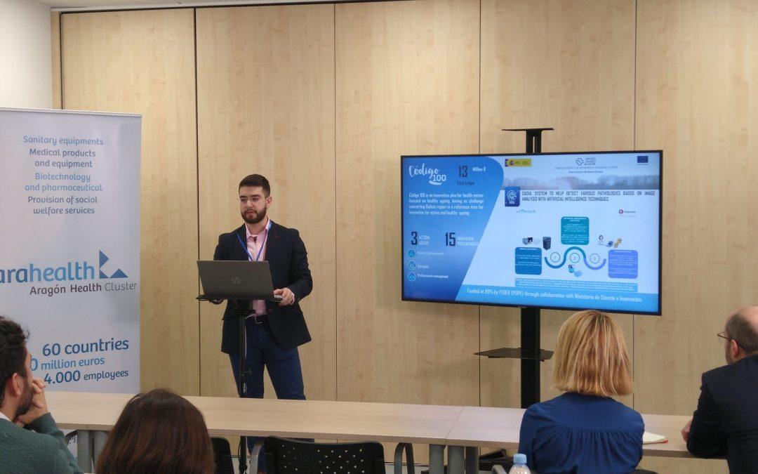 El alumno Rodrigo Casamayor, de Inycom, participa en un taller sobre inteligencia artificial y diagnóstico médico organizado por el clúster de la Salud de Aragón, Arahealth