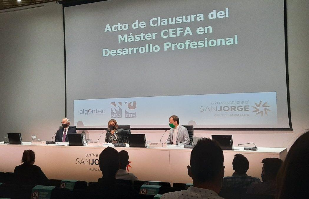 La Universidad San Jorge celebra el acto de clausura del Máster CEFA en Desarrollo profesional