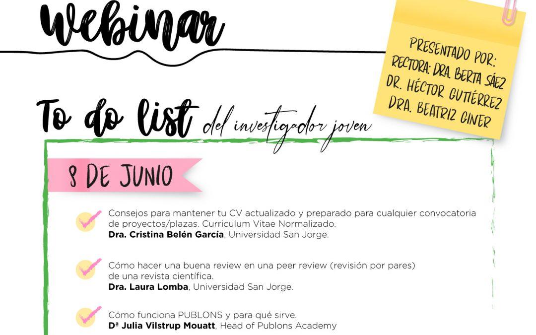 La Universidad San Jorge organiza el primer Webinar para Jóvenes Investigadores