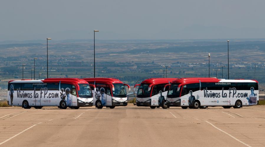 La campaña 'Vivimos la FP' del Grupo San Valero en los autobuses de Avanza