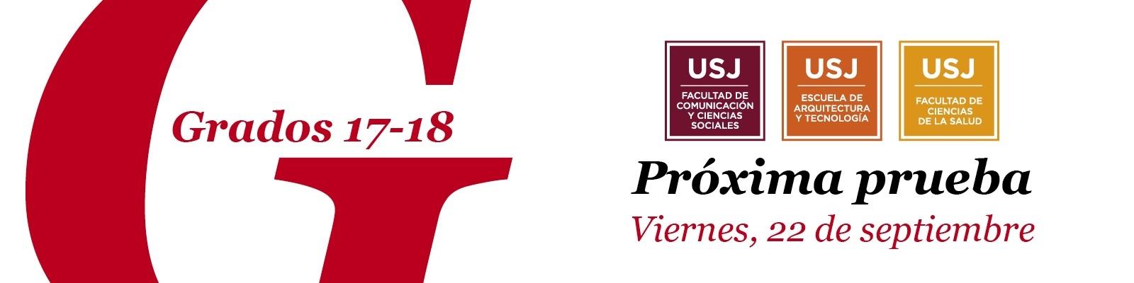 Próxima prueba de admisión de la Universidad San Jorge, 22 de septiembre