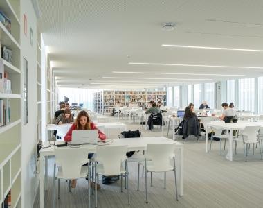 Alumnos estudiando en la biblioteca del Edificio de Estudiantes de la Universidad San Jorge