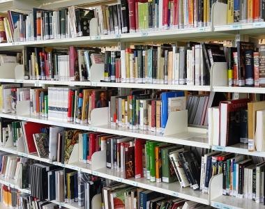 Libros de la biblioteca del Edificio de Estudiantes de la Universidad San Jorge