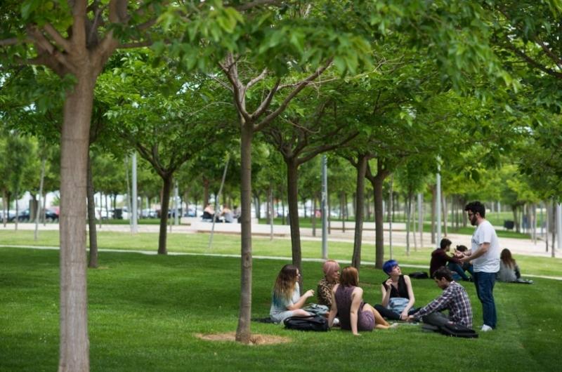Alumnos de la Universidad San Jorge en el campus de Villanueva de Gállego