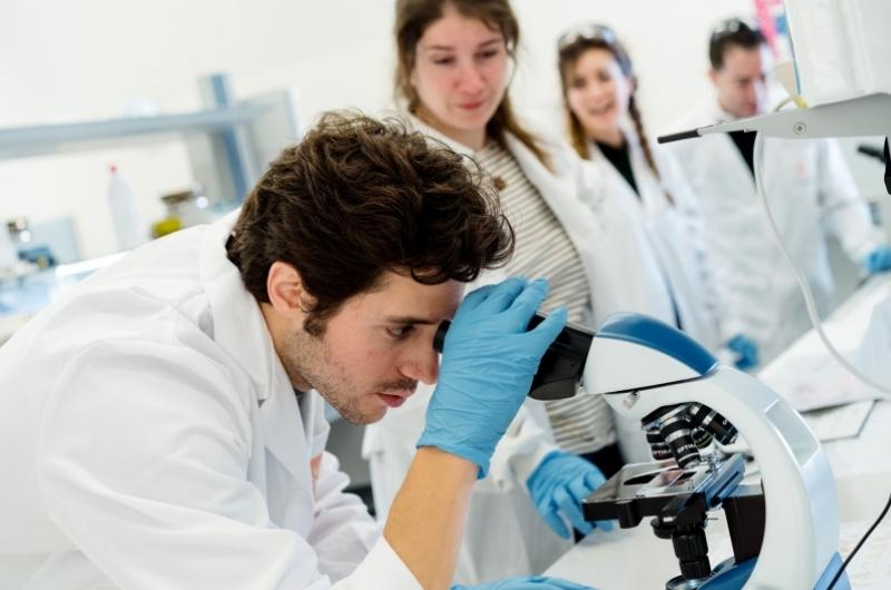 Alumnos del grado en Farmacia realizando prácticas en los laboratorios de la Universidad San Jorge